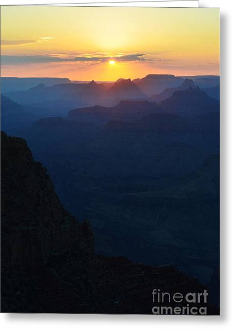 Orange Sunset Twilight Over Silhouetted Spires In Grand Canyon National Park Vertical Greeting Card by Shawn O'Brien