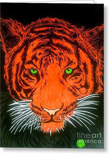 Greeting Card featuring the drawing Orange Tiger by Justin Moore