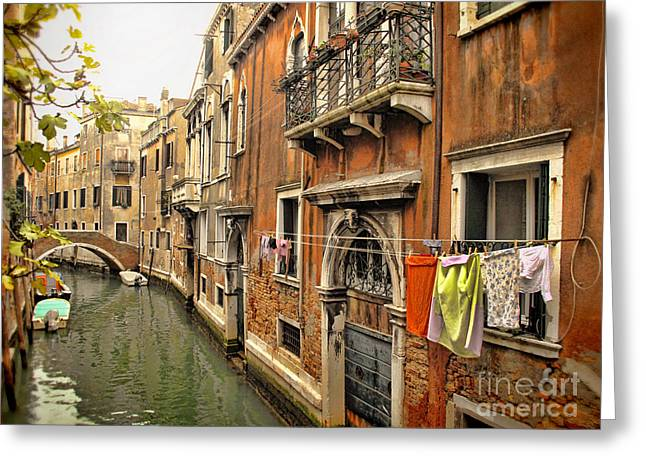 Orange Towel Venice Canal Greeting Card