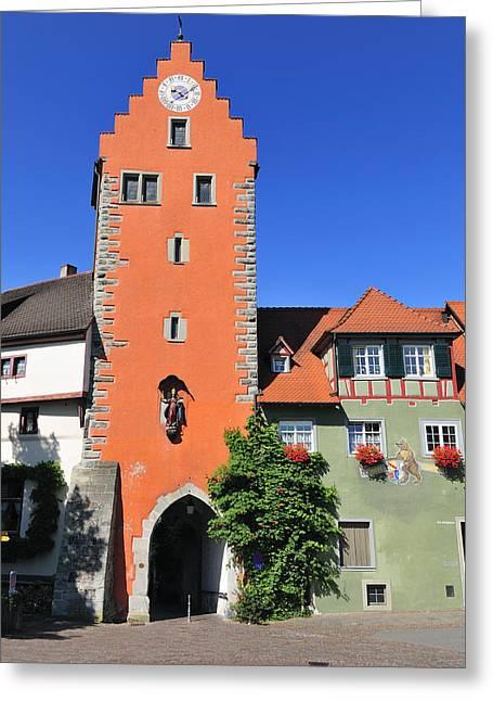 Orange Tower And Blue Sky - City Gate In Meersburg Germany Greeting Card