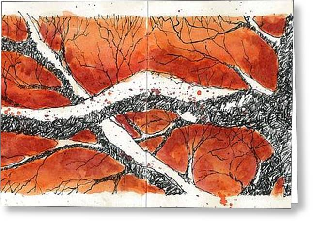 Greeting Card featuring the mixed media Orange Tree by Tim Oliver