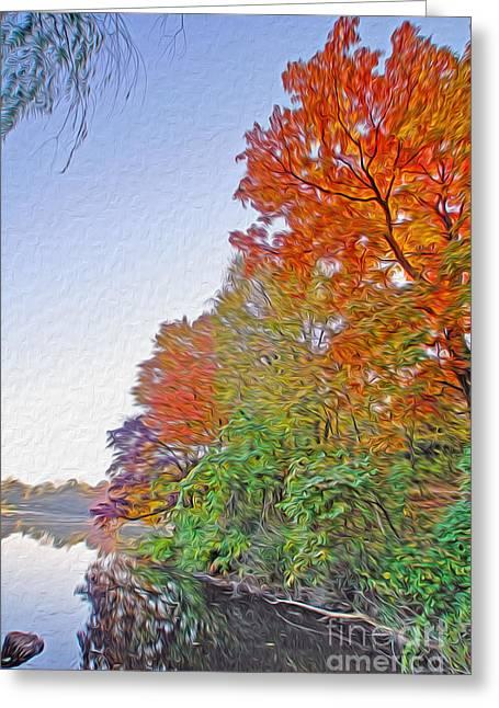 Orange Trees Greeting Card by Nur Roy