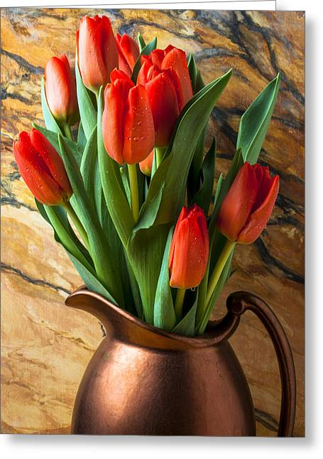 Orange Tulips In Copper Pitcher Greeting Card by Garry Gay
