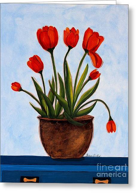 Orange Tulips On A Blue Buffet Greeting Card by Barbara Griffin