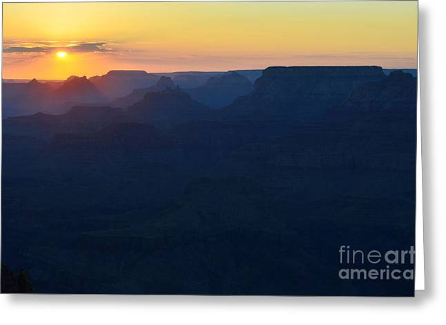 Orange Twilight Sunset Over Silhouetted Spires In Grand Canyon National Park Greeting Card by Shawn O'Brien