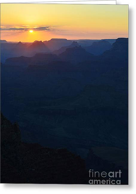 Orange Twilight Sunset Over Silhouetted Spires In Grand Canyon National Park Vertical Greeting Card by Shawn O'Brien