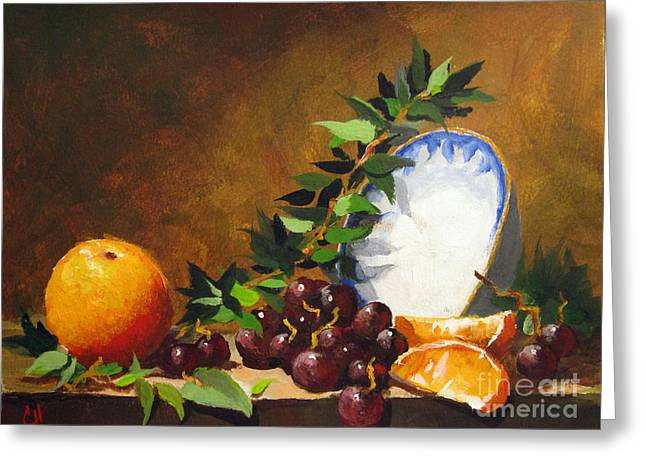 Greeting Card featuring the painting Orange With Bowl by Carol Hart