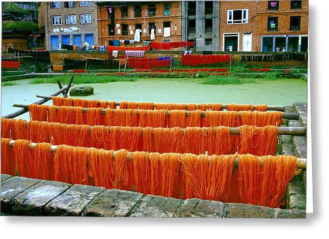 Orange Yarn Greeting Card