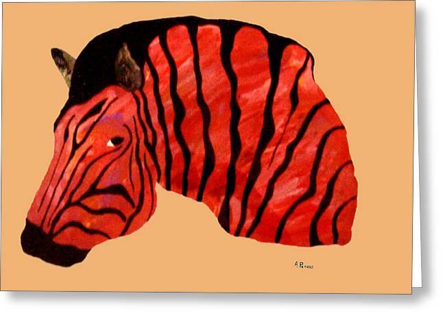 Orange Zebra Greeting Card by Andrew Petras