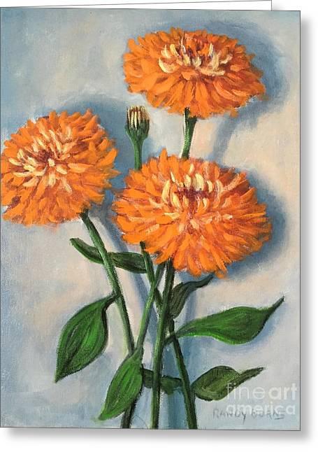 Orange Zinnias Greeting Card by Randy Burns