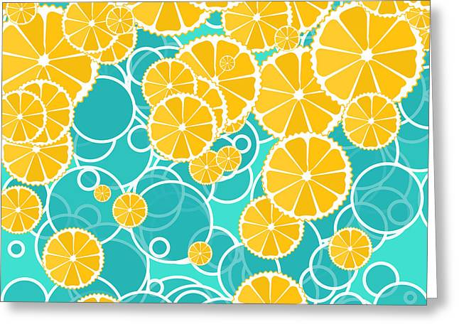 Oranges And Bubbles Greeting Card by Gaspar Avila