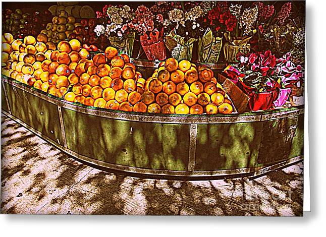 Oranges And Flowers Greeting Card by Miriam Danar