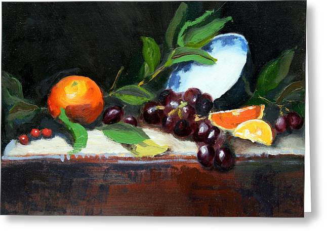 Oranges And Grapes Greeting Card