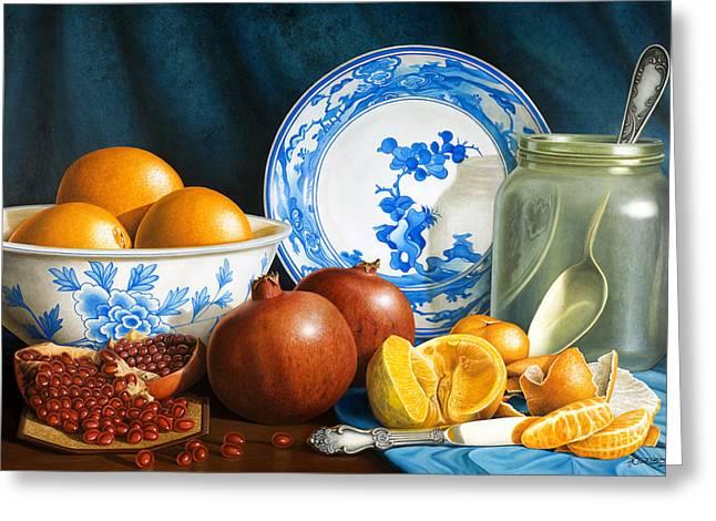 Oranges And Pomegranates Greeting Card by Horacio Cardozo