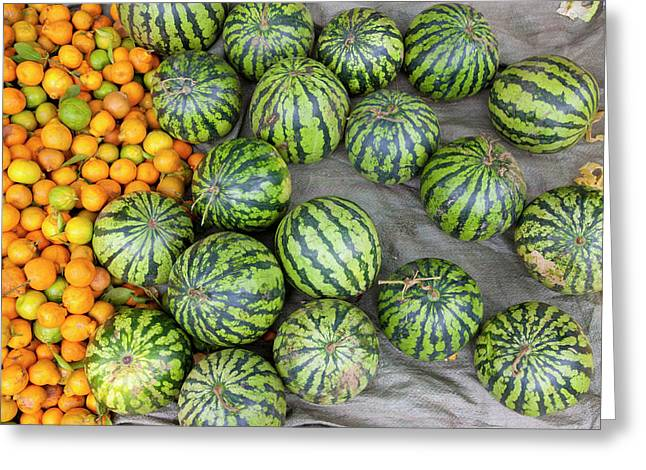 Oranges And Watermelons For Sale Greeting Card by Art Wolfe