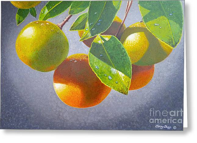 Oranges Greeting Card by Carey Chen