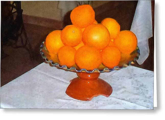 Oranges In A Chipped Bowl Greeting Card