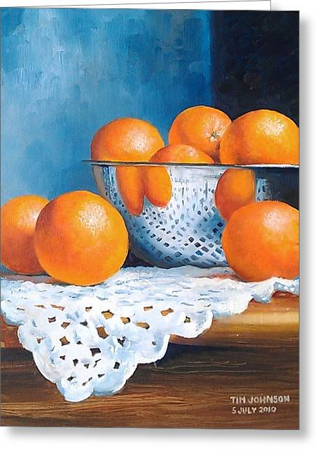 Oranges Greeting Card by Tim Johnson