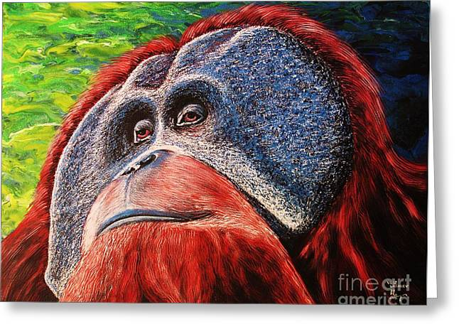 Greeting Card featuring the painting Orangutan by Viktor Lazarev