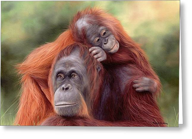 Orangutans Painting Greeting Card by Rachel Stribbling