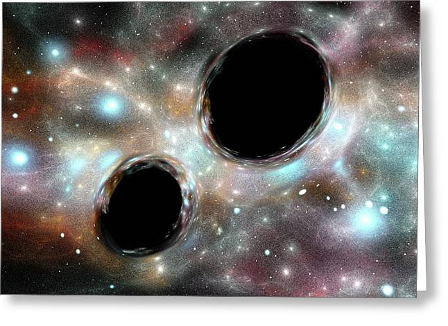 Orbiting Black Holes Greeting Card by Russell Kightley