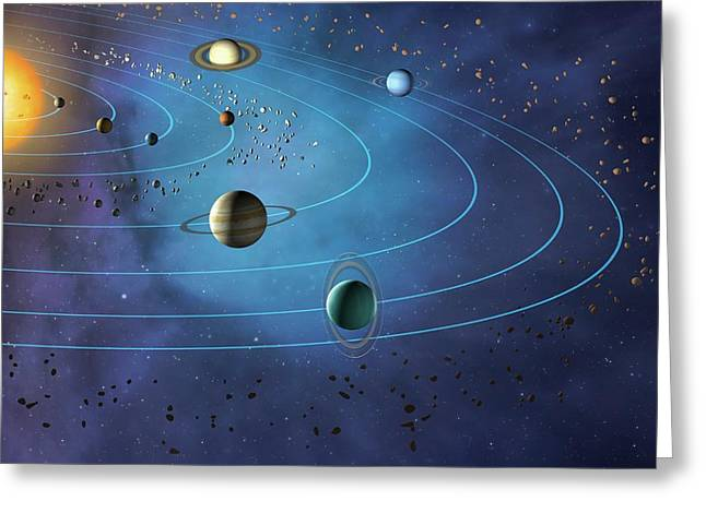 Orbits Of Planets In The Solar System Greeting Card by Mark Garlick