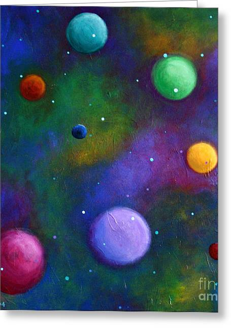 Greeting Card featuring the painting Orbs In Space by Alison Caltrider