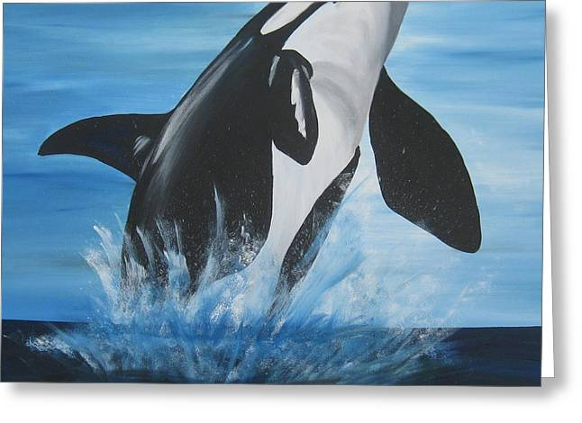 Orca Greeting Card by Cathy Jacobs