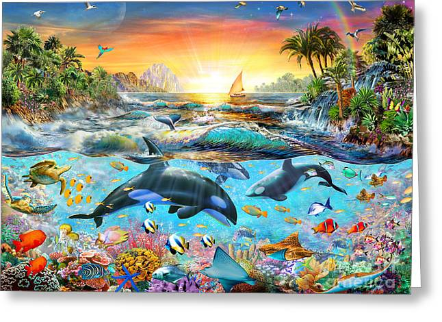 Orca Paradise Greeting Card by Adrian Chesterman