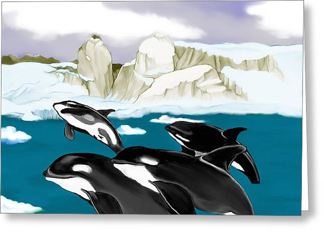 Orcas Greeting Card