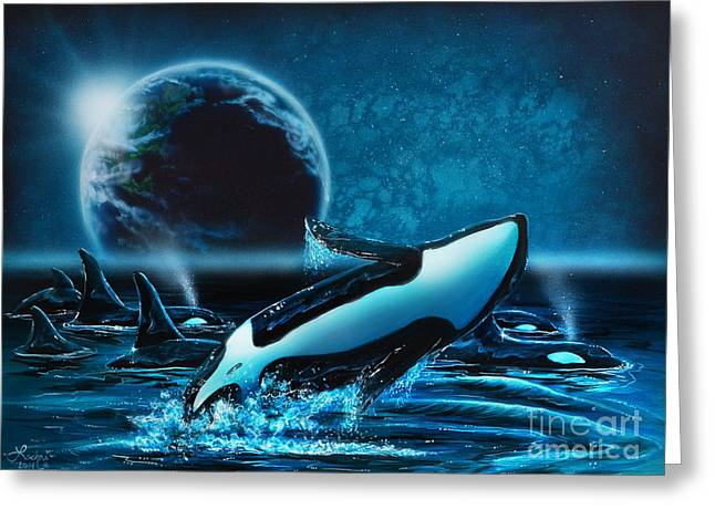 Orcas At Night Greeting Card
