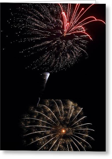 Greeting Card featuring the photograph Orchid And The Sprinkled Doughnut Mum - Fireworks At St Albans Bay by R B Harper