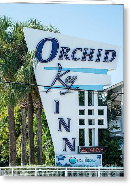 Orchid Inn Sign Key West Greeting Card by Ian Monk
