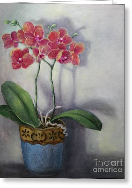 Orchid Still Life Greeting Card by Randy Burns