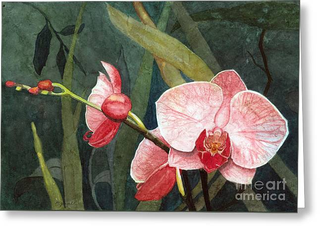 Greeting Card featuring the painting Orchid Trio 2 by Barbara Jewell