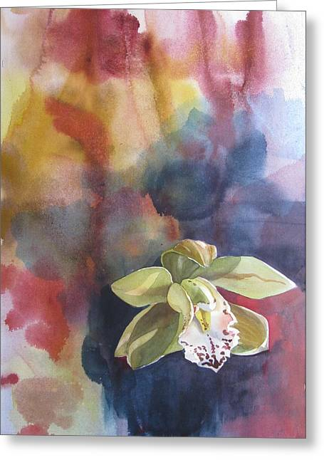 Orchid With Abstraction Greeting Card