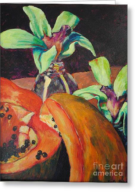 Orchids And Papaya  Greeting Card by Toelle Hovan