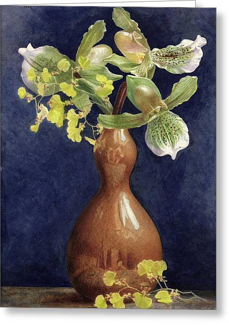 Orchids In A Copper Vase, 1881 Greeting Card by Helen Thornycroft