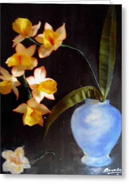 Orchids In A Vase Greeting Card by Brenda Almeida-Schwaar