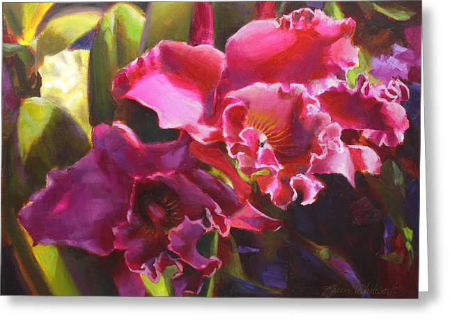 Orchids In Magenta Greeting Card by Karen Whitworth