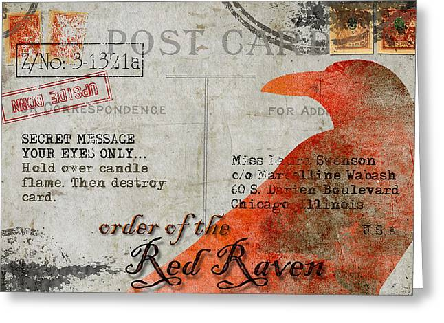 Order Of The Red Raven Faux Poste Greeting Card by Carol Leigh