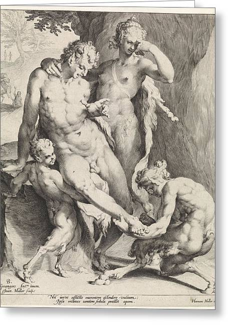 Oreaden Removing A Thorn From The Foot Of A Satyr Greeting Card by Jan Harmensz. Muller And Bartholomeus Spranger And Harmen Jansz Muller