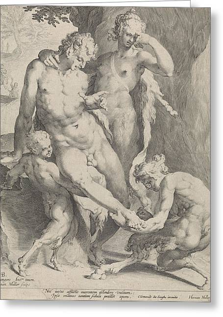 Oreaden Removing A Thorn From The Foot Of A Satyr Greeting Card by Jan Harmensz. Muller And Clement De Jonghe And Harmen Jansz Muller
