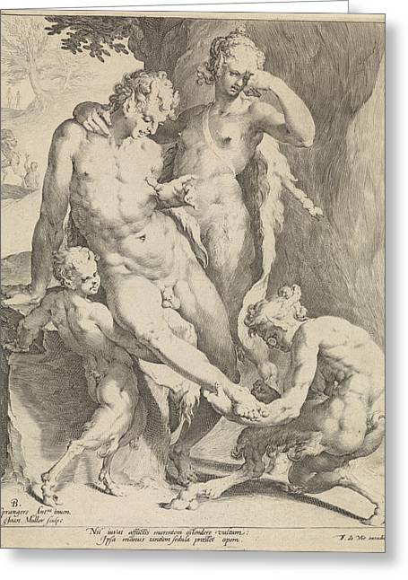 Oreaden Removing A Thorn From The Foot Of A Satyr Greeting Card by Jan Harmensz. Muller And Frederik De Wit