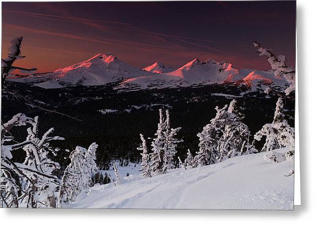 Greeting Card featuring the photograph Oregon Cascades Winter Sunset by Kevin Desrosiers
