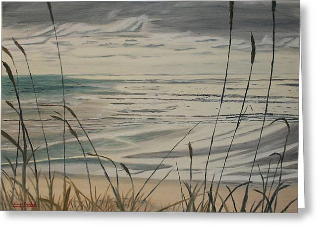 Oregon Coast With Sea Grass Greeting Card by Ian Donley