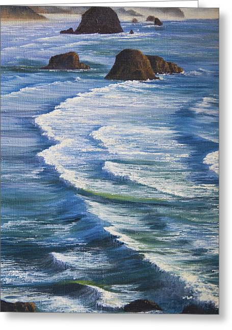 Greeting Card featuring the painting Oregon Coastline by Jeanette French