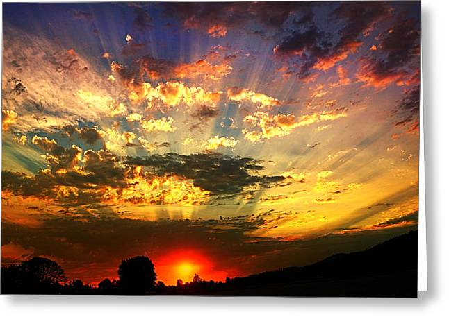 Oregon Crepuscular Sunset Greeting Card
