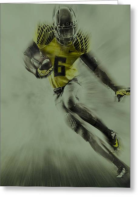 Oregon Ducks Football Greeting Card by Brian Reaves