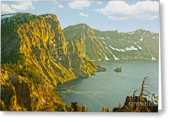 Oregon Lake Time Greeting Card by Nur Roy